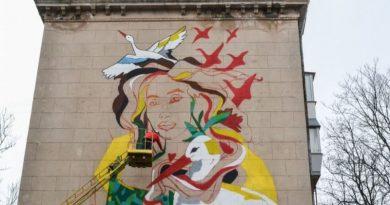В центре Николаева рисуют мурал с изображением Ольги Шарий, - журналист