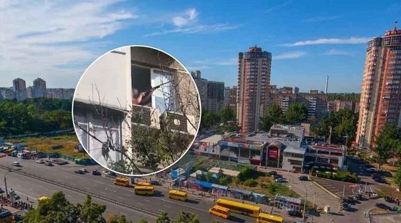 В Киеве мужчина устроил стрельбу из окон свои квартиры